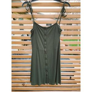 Olive Green Topshop Button-Up Dress